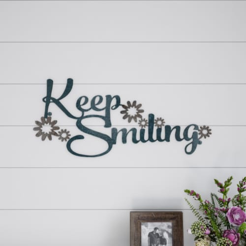 Metal Cutout- Keep Smiling Decorative Wall Sign-3D Word Art Home Accent Decor Perspective: front