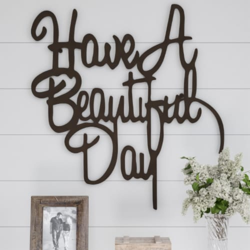 Metal Cutout-Have a Beautiful Day Decorative Wall Sign-3D Word Art Home Accent Decor-Perfect Perspective: front