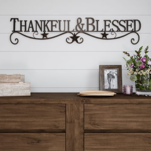 Metal Cutout-Thankful And Blessed Decorative Wall Sign-3D Word Art Home Accent Decor-Modern Perspective: front