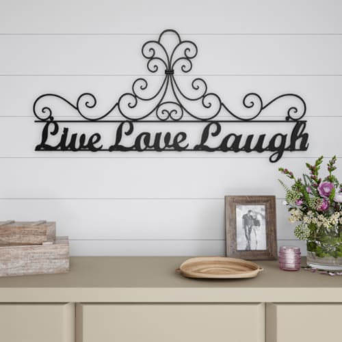 Metal Cutout-Live Laugh Love Decorative Wall Sign-3D Word Art Home Accent Decor-Modern Rustic Perspective: front