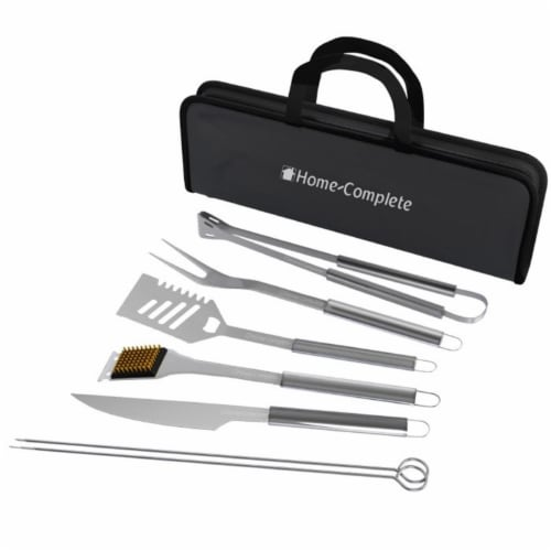 Home-Complete HC-1004 Stainless Steel Barbecue Grilling Accessories with 7 Utensils & Carryin Perspective: front