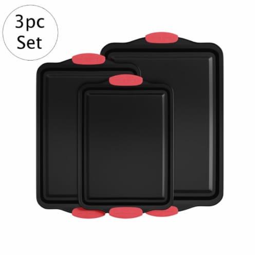 Classic Cuisine 82-KIT1090 3 Piece Nonstick Cookie Baking Pans Sheet Set Perspective: front