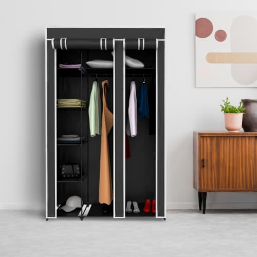 Wardrobe Closet Organizer with Dust Cover  Free Standing Vertical Armoire with Dustproof, Perspective: front