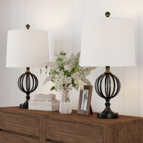 Table Lamps- Set of 2 Openwork Iron Orb Lights, Bulbs and Shades Included-Modern Rustic Style Perspective: front