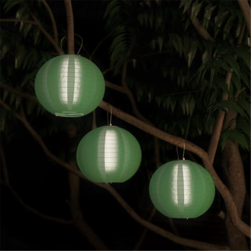 Pure Garden 50-LG1006 Chinese Lanterns-Hanging Fabric Lamps with Solar Powered LED Bulbs & Ha Perspective: front