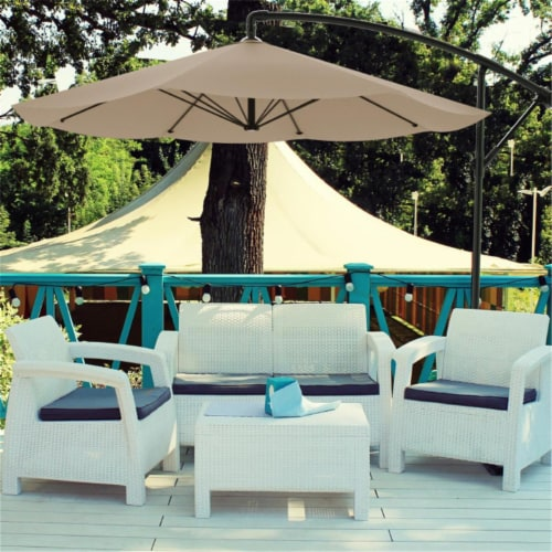 Pure Garden 50-LG1046 Patio Umbrella, Cantilever Hanging Outdoor Shade, Sand - 10 ft. Perspective: front