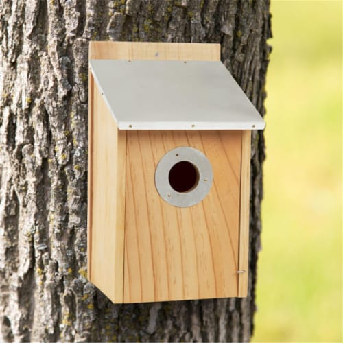 Pure Garden Pine Bird House with Tin Roof Perspective: front