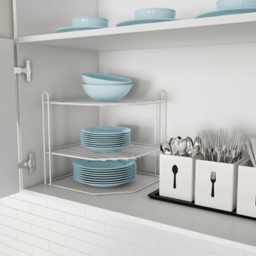 Two-Tiered Corner Shelf � Powder Coated Iron Space Saving Storage Organizer for Kitchen, Perspective: front