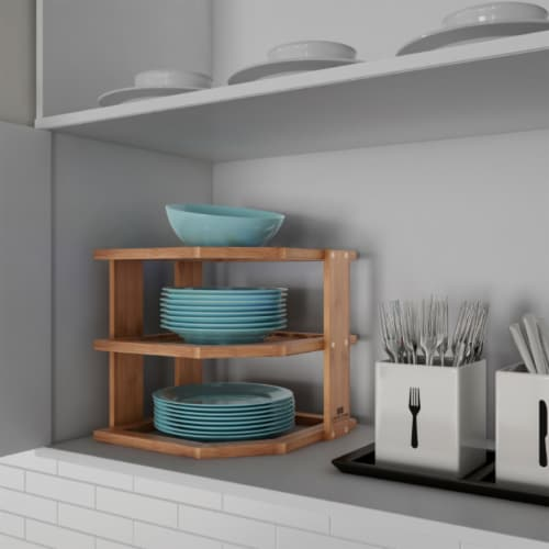 3-Tier Bamboo Corner Shelf for Kitchen or Bathroom Cabinet, Countertop, Cupboard Storage and Perspective: front