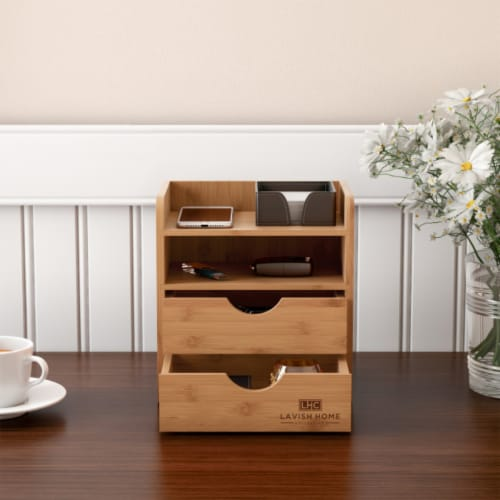 4-Tier Bamboo Desk Organizer - Wooden Office Supply Storage Accessory with Drawers Perspective: front