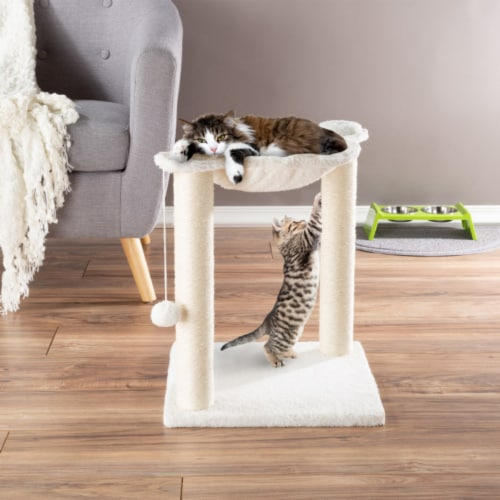 Cat Tree and Scratcher- Two Sisal Scratching Posts, Hammock Style Lounging Bed and Perspective: front