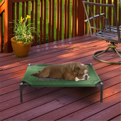 Petmaker 80-PET6084GRN Elevated Pet Bed, Green - 30 x 24 x 7 in. Perspective: front