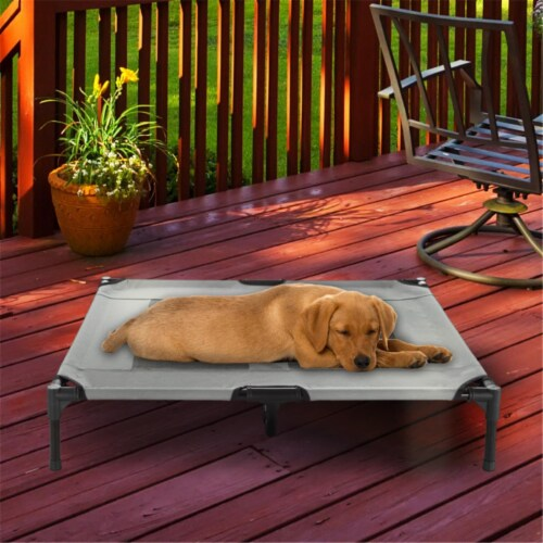 Petmaker 80-PET6085GY Elevated Pet Bed, Gray - 36 x 29.75 x 7 in. Perspective: front