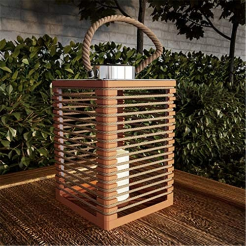 Pure Garden 50-LG1085 Solar Powered LED Outdoor & Indoor Flickering Flameless Candle Lantern Perspective: front