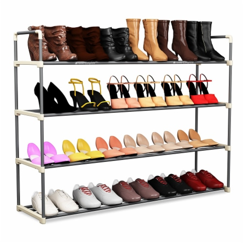 Shoe Rack Storage Shelf 4 Shelves Hallway Entryway Holds 24 Pairs 40 Inches Long Perspective: front