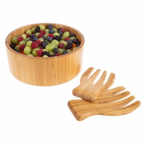 Bamboo Salad Bowl with Utensils – FDA Certified Modern Round Wooden Dinnerware Serving Fruit Perspective: front