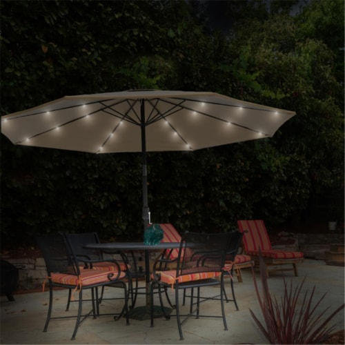 Pure Garden 50-LG1175 Patio Umbrella-10 ft. Pool & Deck Shade with Solar Powered LED Lights - Perspective: front