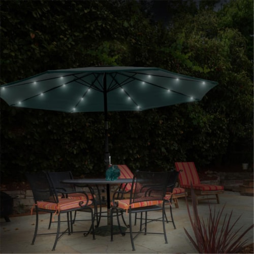 Pure Garden 50-LG1176 Patio Umbrella Deck Shade with Solar Powered LED Lights - Hunter Green Perspective: front