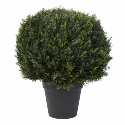 Artificial Cypress Topiary-23 Inch Ball Style Faux Plant in Sturdy Pot-Realistic Indoor or Perspective: front