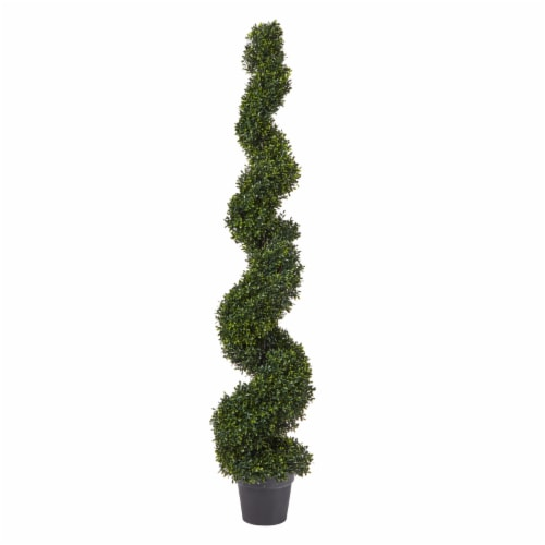 Faux Boxwood Realistic and Lifelike Plastic 5 Foot Spiral Topiary Arrangement and Weighted Perspective: front