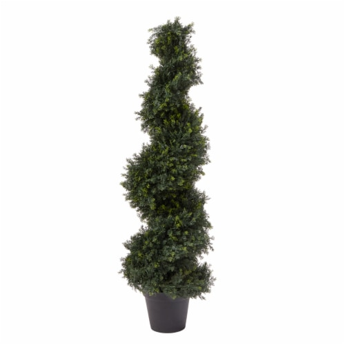 4-Foot-Tall Artificial Cypress Spiral Topiary Tree- Potted Indoor or Outdoor UV Protection Perspective: front