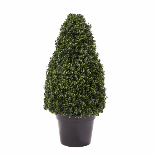 Artificial Boxwood Topiary-36 Inch Tower Style Faux Plant in Sturdy Pot-Decorative, Realistic Perspective: front