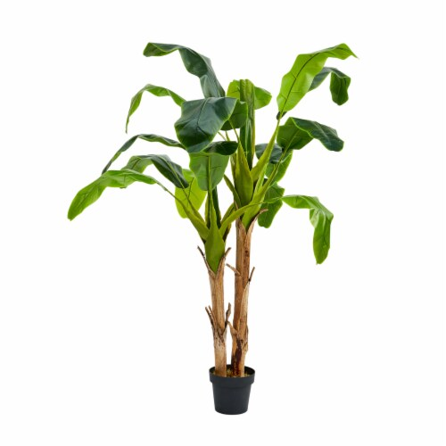 Artificial Banana Leaf Tree 72 Inch Double Trunk Style Faux Plant in Sturdy Pot- Realistic Perspective: front