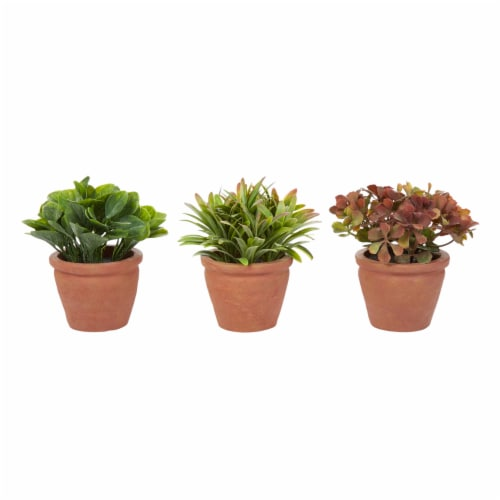 Artificial 6  Tall Greenery Arrangement House Plants in Pots- Round Set of 3, Decorative Faux Perspective: front
