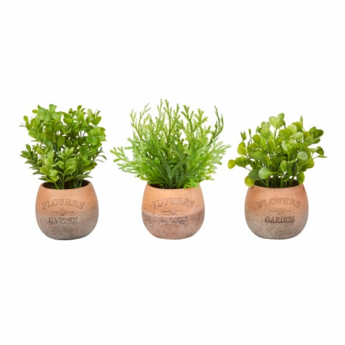 Artificial 8  Tall Greenery Arrangement House Plants in Pots- Round Set of 3, Decorative Faux Perspective: front