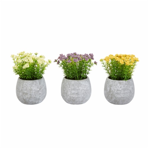 Faux Flowers-3-Piece Assorted Natural Lifelike Floral 6.25  Tall Arrangements and Imitation Perspective: front
