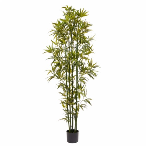 6 Ft. Artificial Bamboo  Tall Faux Potted Indoor Floor Plant for Home  Large and Lifelike by Perspective: front