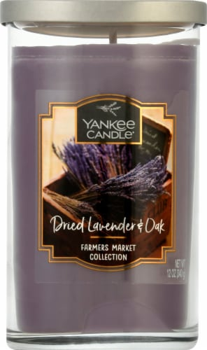 Yankee Candle Dried Lavender & Oak Pillar Candle - Purple Perspective: front