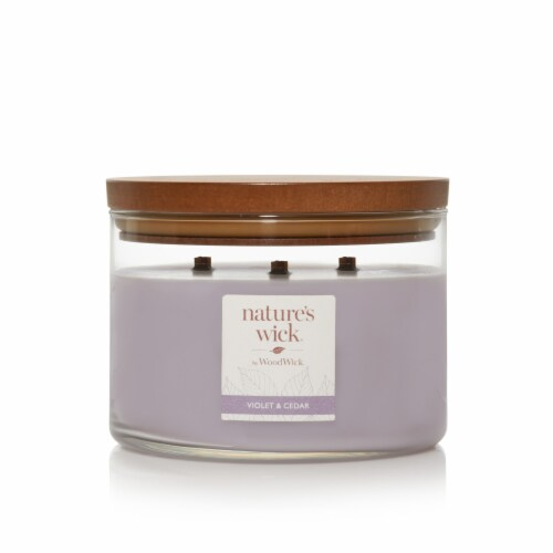 WoodWick® Nature's Wick Violet and Cedar Jar Candle - Purple Perspective: front