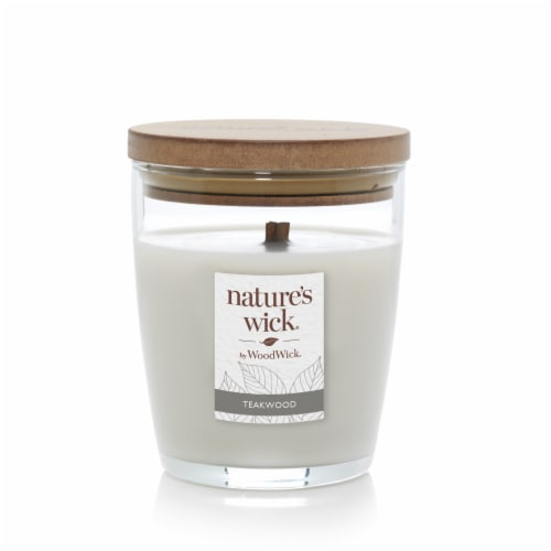 WoodWick® Nature's Wick Teakwood Scented Medium Jar Candle Perspective: front
