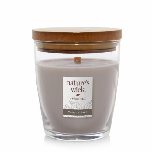WoodWick® Nature's Wick Tobacco Bark Scented Medium Jar Candle Perspective: front