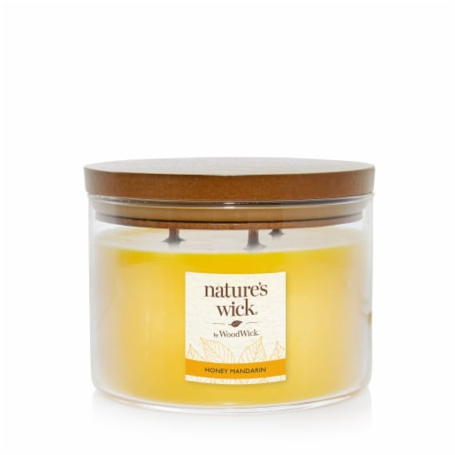 WoodWick® Nature's Wick 3-Wick Honey Mandarin Scented Large Jar Candle Perspective: front