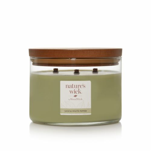 WoodWick® 3 Wick Scented Candle - Sage/White Pepper Perspective: front