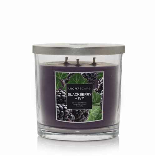 Aromascape Blackberry + Ivy Jar Candle - Purple Perspective: front