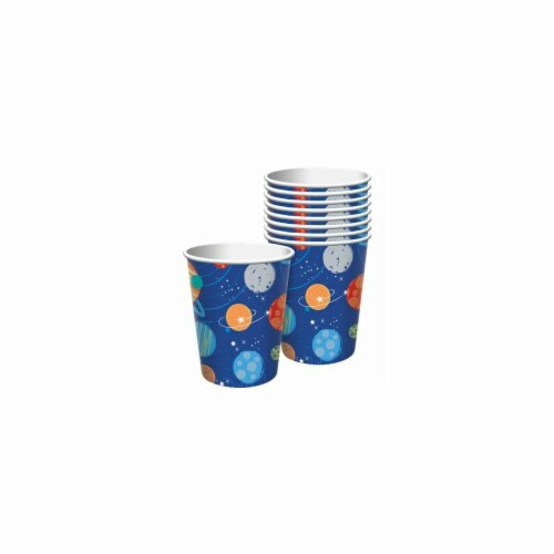 Amscan 582278 Blast Off Birthday 9 oz. Paper Cups - 8 Piece Perspective: front