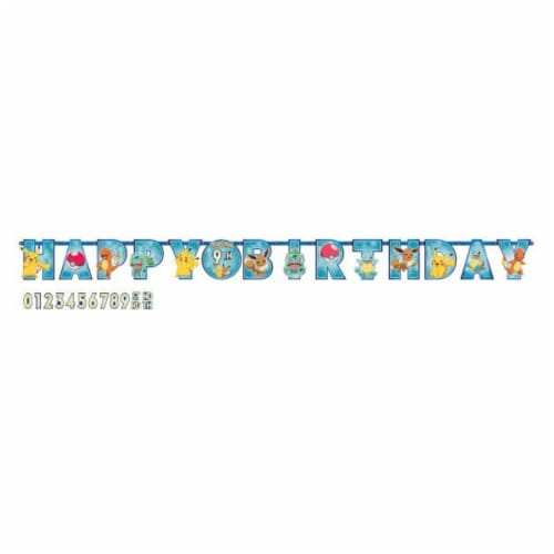 Pokemon Party Jumbo Add-An-Age Letter Party Banner Perspective: front