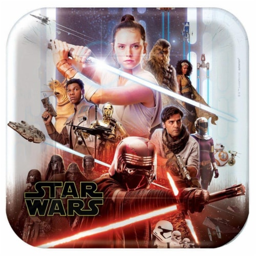 Amscan 634885 10.5 in. Star Wars-The Rise of Skywalker Lunch Plate - Pack of 8 Perspective: front