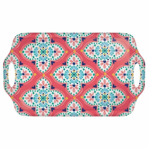 Amscan 634823 19 x 11.5 in. Boho Vibes Handle Tray Perspective: front