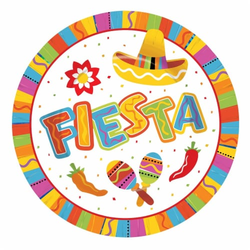 Amscan Fiesta Fun 9-Inch Round Plates Perspective: front