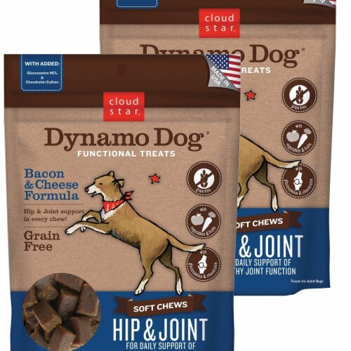 Cloud Star 192959800258 5 oz Dynamo Dog Hip & Joint Bacon & Cheese Functional Treats - Pack o Perspective: front