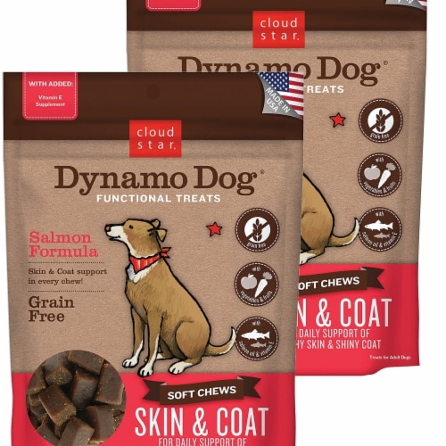 Cloud Star 192959800272 5 oz Dynamo Dog Skin & Coat Salmon Functional Treats - Pack of 2 Perspective: front