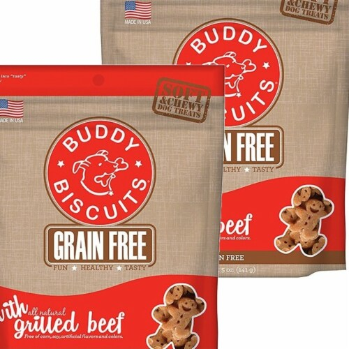 Cloud Star 192959800494 5 oz Buddy Biscuits Soft & Chewy Dog Treats - Grilled Beef - Pack of Perspective: front