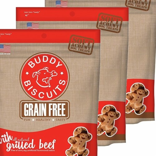 Cloud Star 192959800524 5 oz Buddy Biscuits Soft & Chewy Dog Treats - Grilled Beef - Pack of Perspective: front