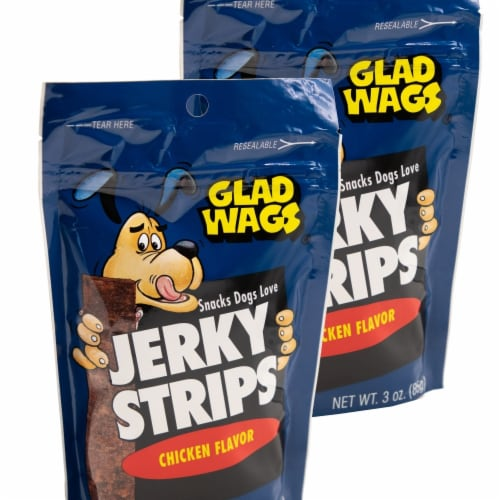 Glad Wags 192959809947 3 oz Chicken Flavor Jerky Strips - Pack of 2 Perspective: front