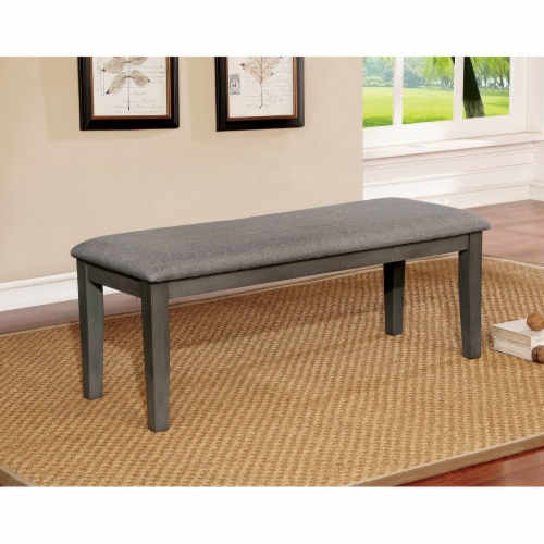 Saltoro Sherpi Rectangular Bench with Fabric Upholstered Seat and Chamfered Legs , Gray Perspective: front
