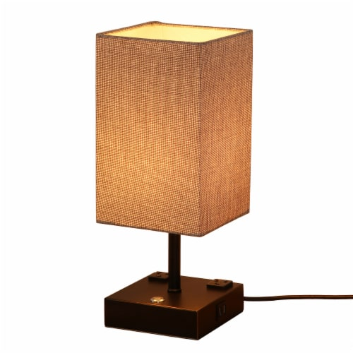 15 in. Black Desk lamp with Charging outlet and USB port Fabric Shade Perspective: front